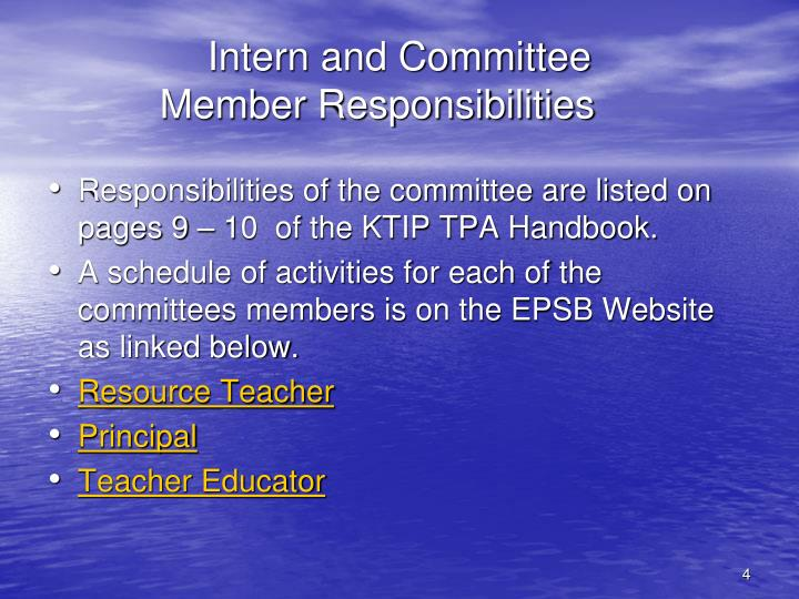 Intern and Committee