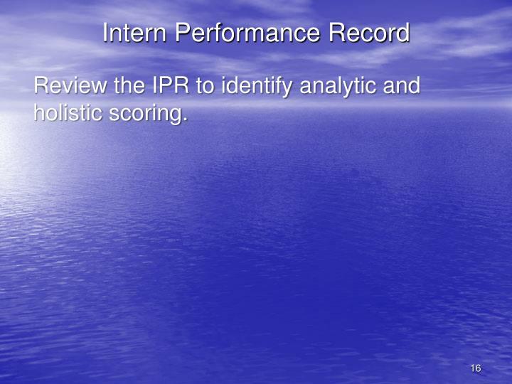 Intern Performance Record