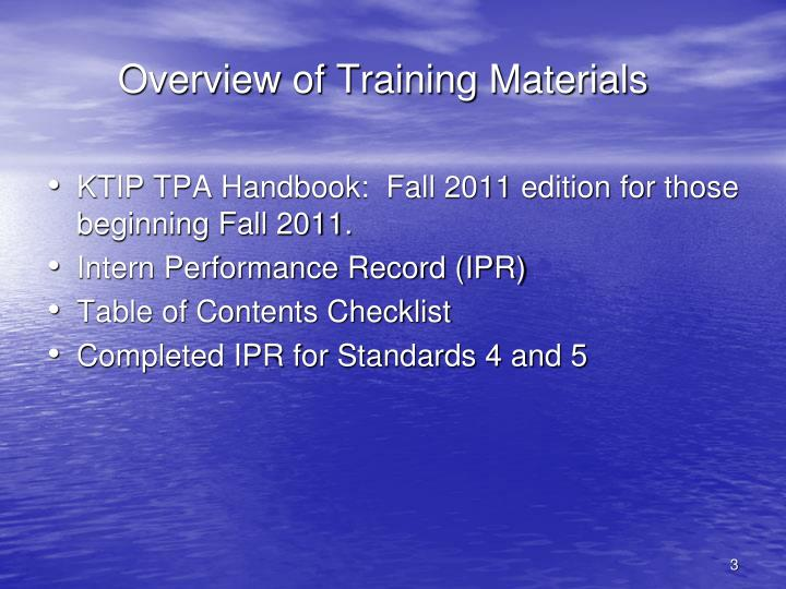 Overview of Training Materials