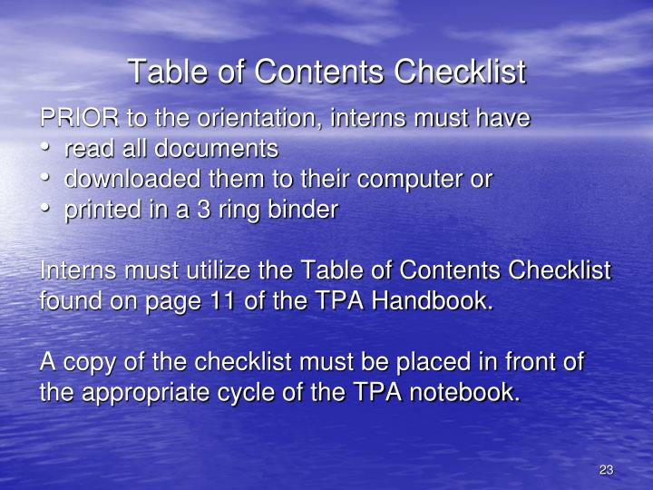 Table of Contents Checklist