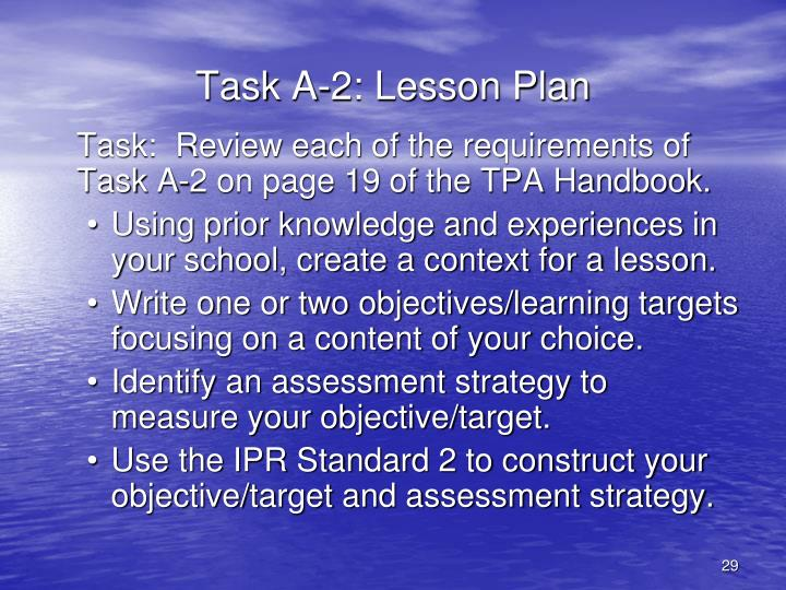 Task A-2: Lesson Plan