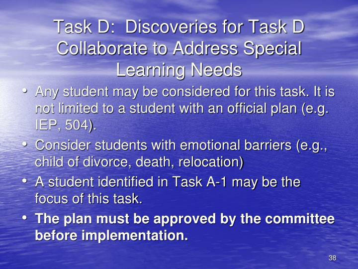 Task D:  Discoveries for Task D