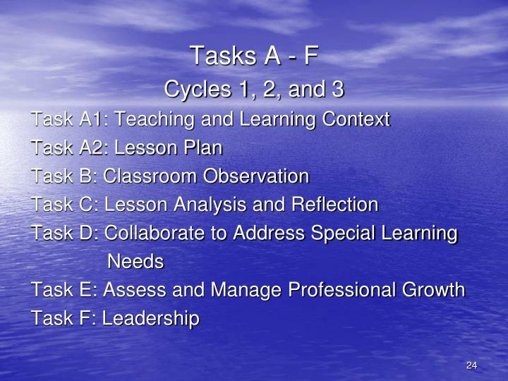 Tasks A - F