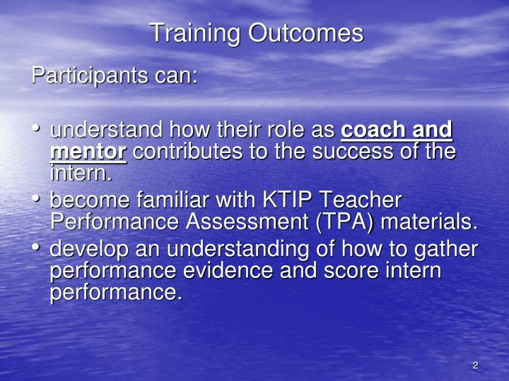 Training Outcomes
