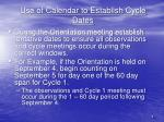 use of calendar to establish cycle dates