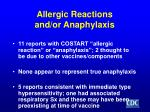 allergic reactions and or anaphylaxis