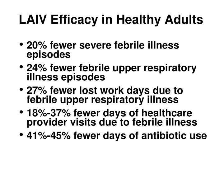 LAIV Efficacy in Healthy Adults
