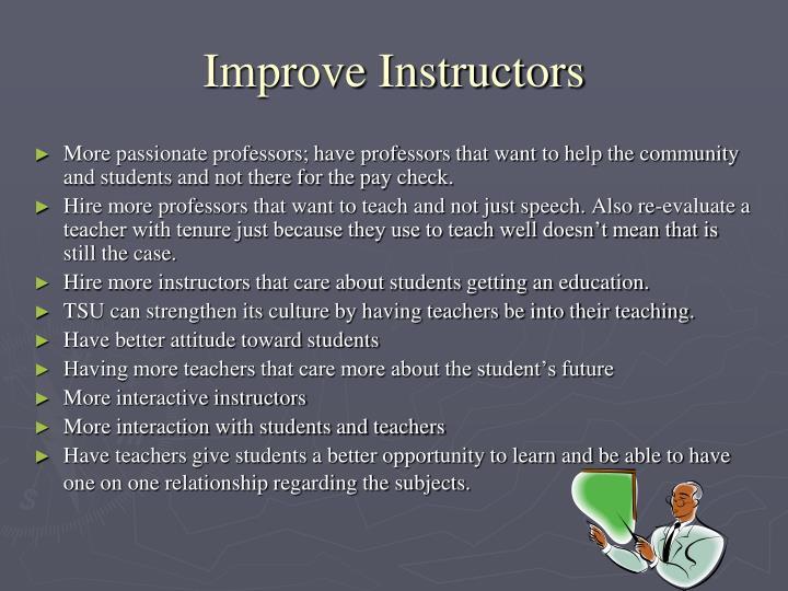 Improve Instructors