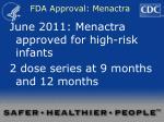 fda approval menactra