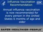 influenza vaccination recommendation