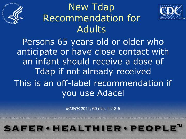 New Tdap Recommendation for Adults