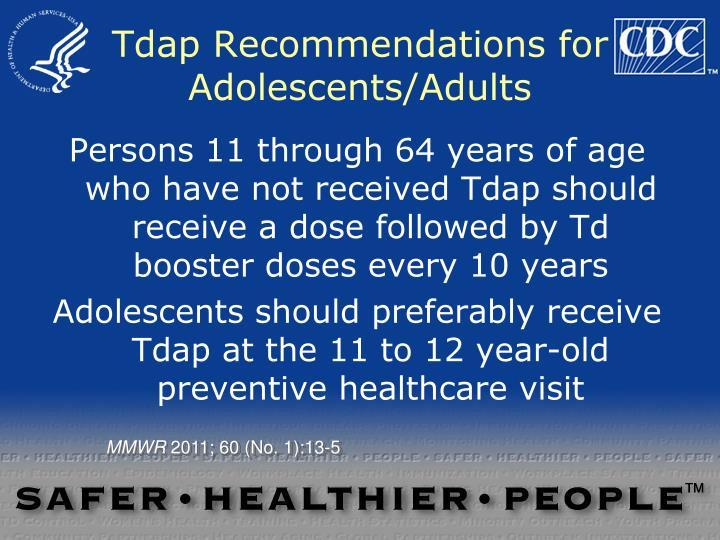Tdap Recommendations for Adolescents/Adults