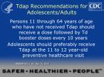 tdap recommendations for adolescents adults