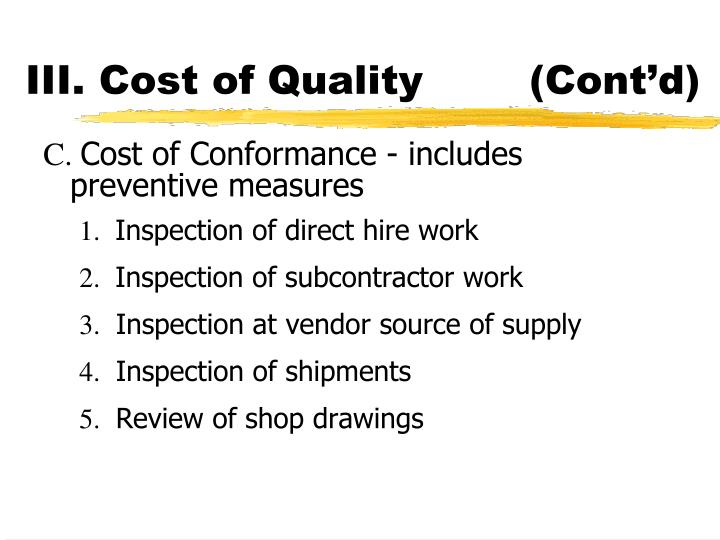 III. Cost of Quality(Cont'd)