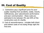 iii cost of quality