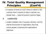 iv total quality management principles cont d