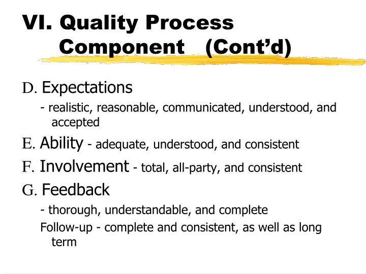VI. Quality Process