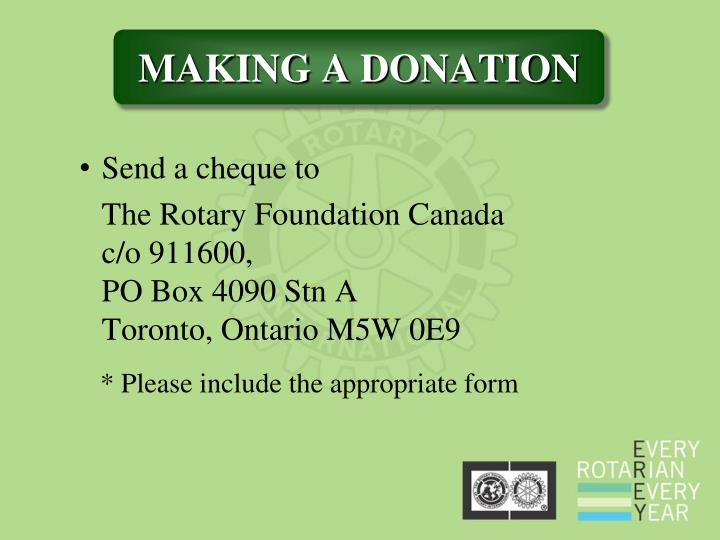 Send a cheque to