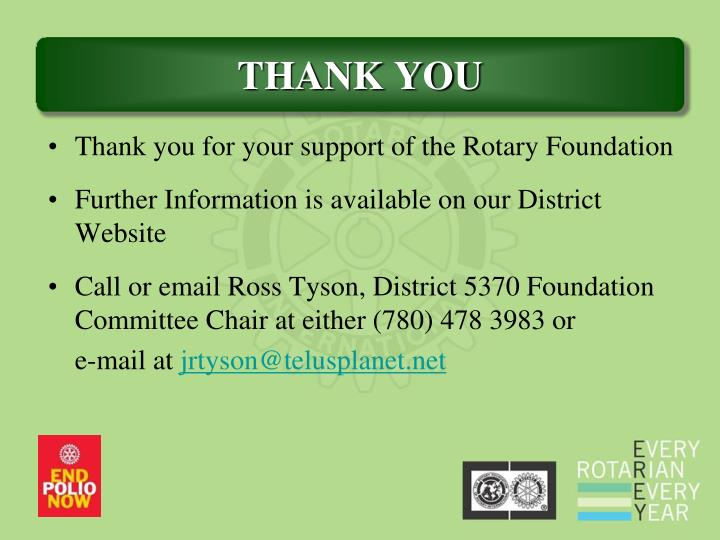 Thank you for your support of the Rotary Foundation