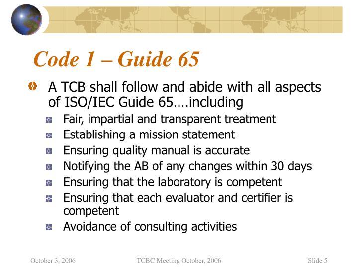 Code 1 – Guide 65