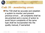code 10 monitoring errors