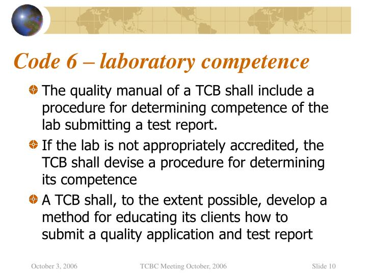 Code 6 – laboratory competence