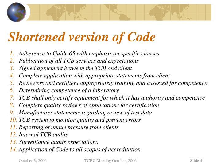 Shortened version of Code
