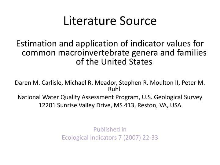 Literature Source