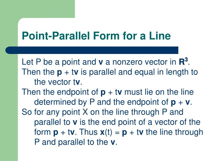 Point-Parallel Form for a Line