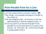point parallel form for a line