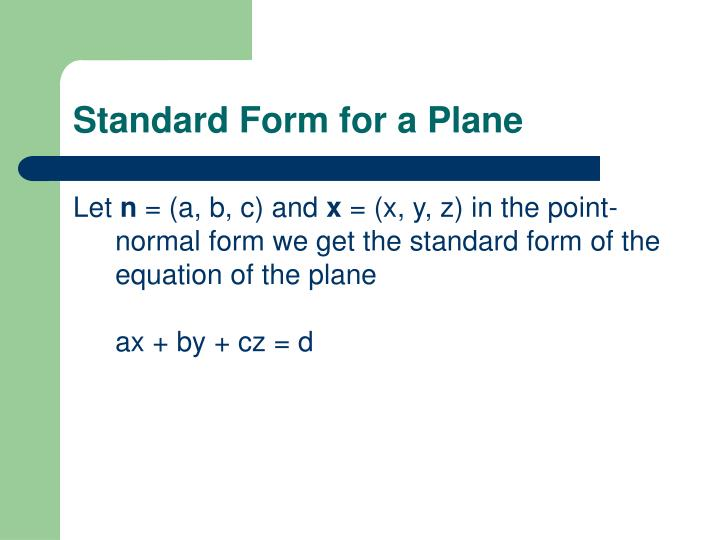 Standard Form for a Plane