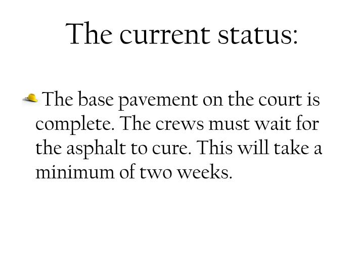 The current status: