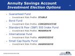 annuity savings account investment election options