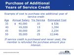 purchase of additional years of service credit