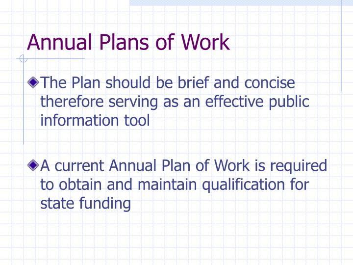 Annual Plans of Work