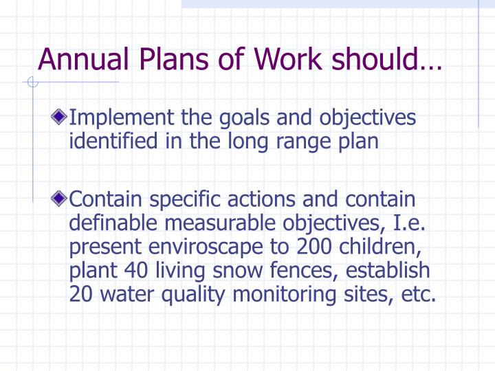 Annual Plans of Work should…
