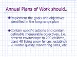 annual plans of work should