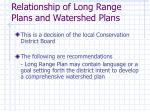 relationship of long range plans and watershed plans