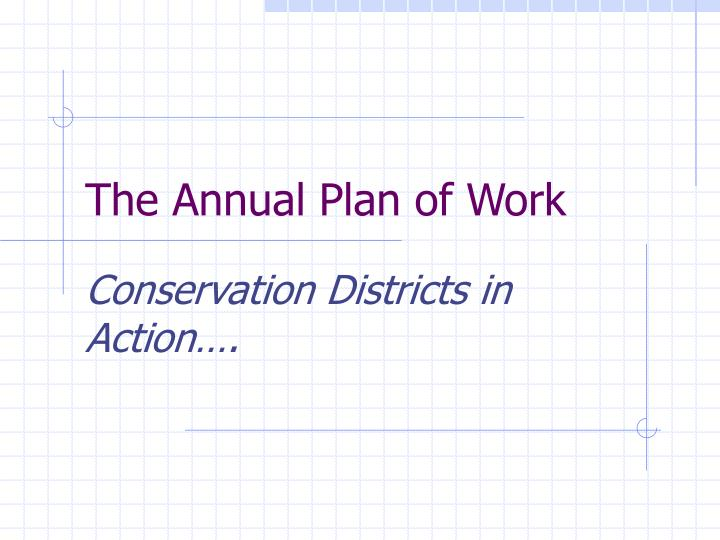 The Annual Plan of Work
