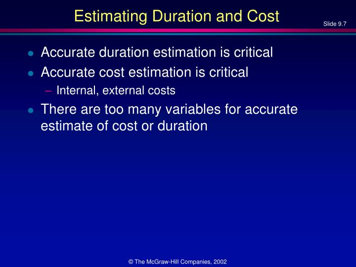 Estimating Duration and Cost