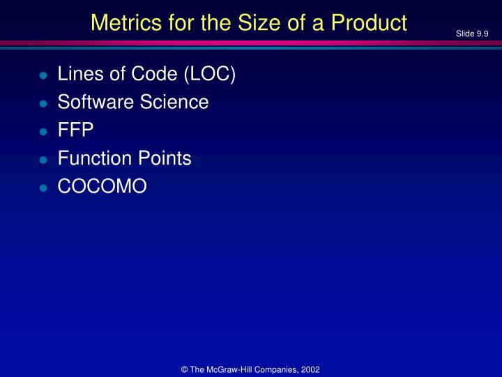 Metrics for the Size of a Product