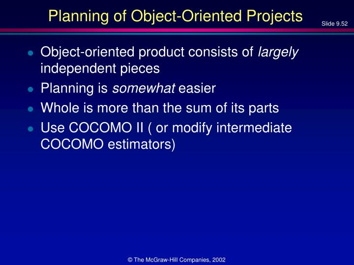 Planning of Object-Oriented Projects