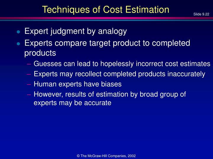 Techniques of Cost Estimation