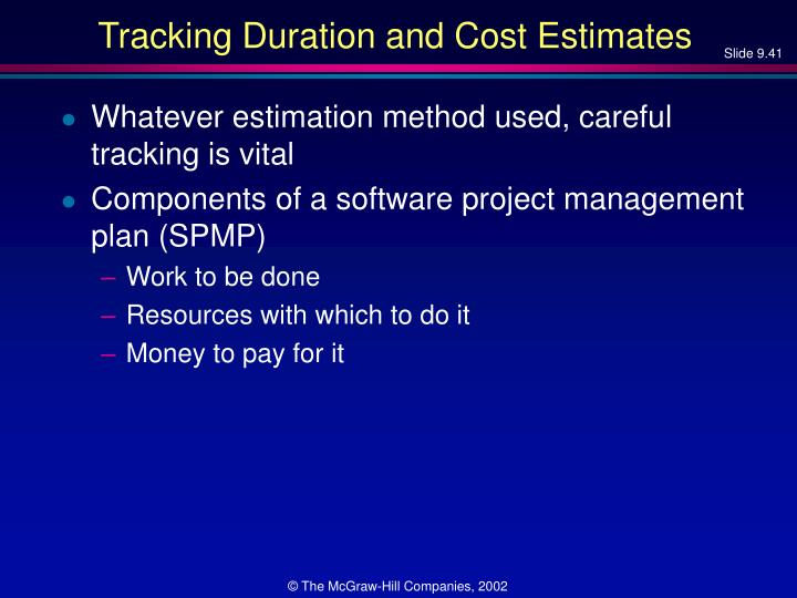 Tracking Duration and Cost Estimates