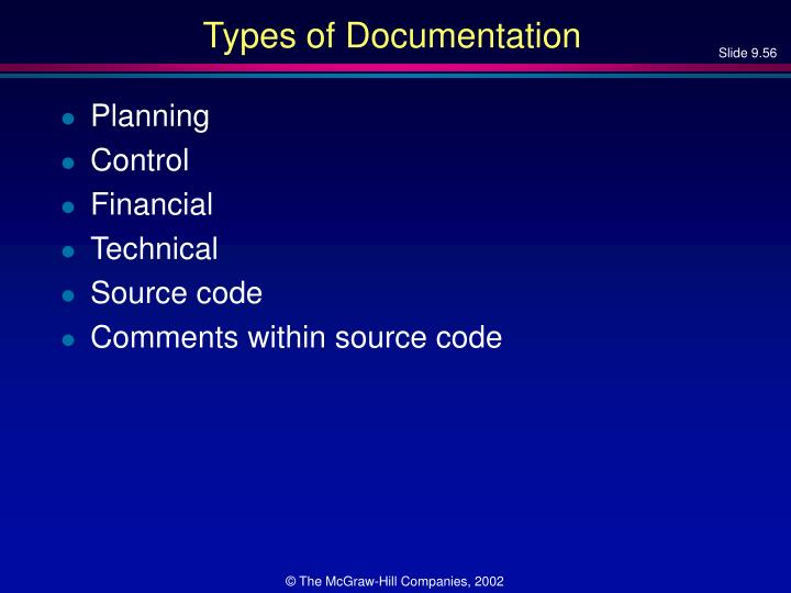 Types of Documentation