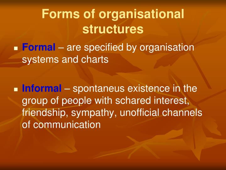 Forms of organisational structures