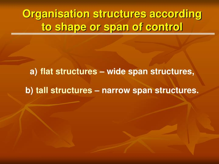 Organisation structures according