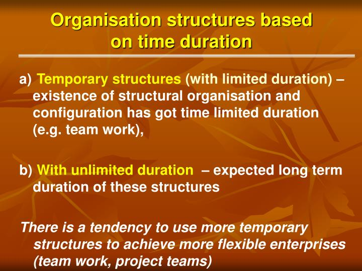 Organisation structures based