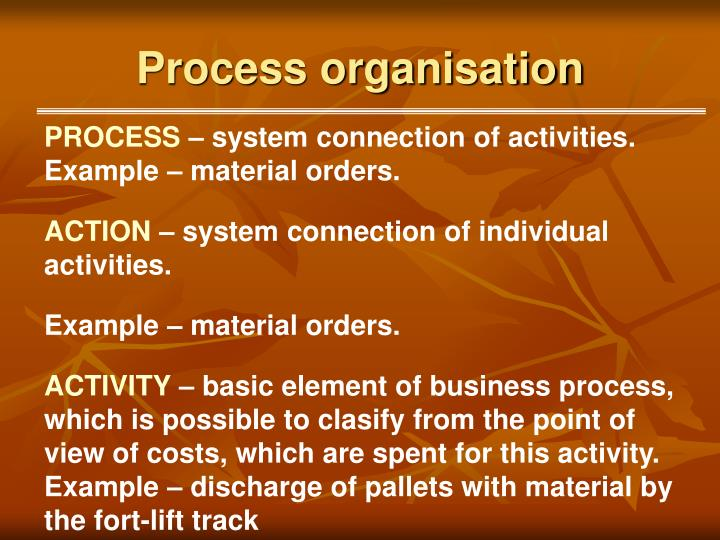 Process organisation