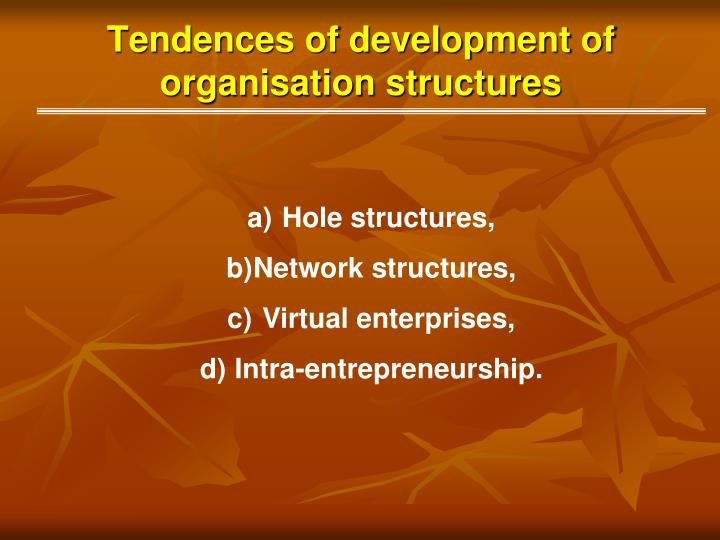 Tendences of development of organisation structures